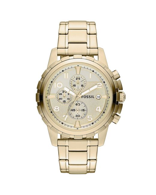 Fossil - Metallic Men's Chronograph Dean Gold-tone Stainless Steel Bracelet Watch 45mm Fs4867 for Men - Lyst