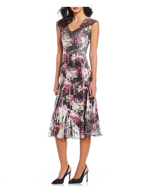 d63080f830 Komarov - Multicolor V-neck Floral Print Charmeuse Chiffon Midi Dress -  Lyst ...
