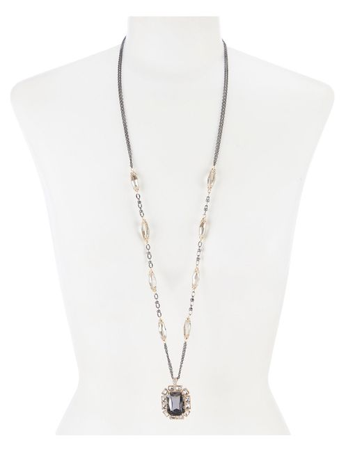 Belle By Badgley Mischka - Metallic Bead Cushion Stone Long Pendant Necklace - Lyst