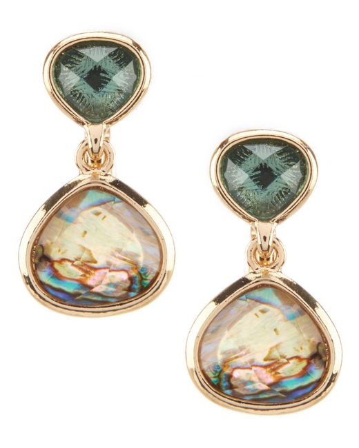 Anne Klein - Metallic Abalone Clip Earrings - Lyst