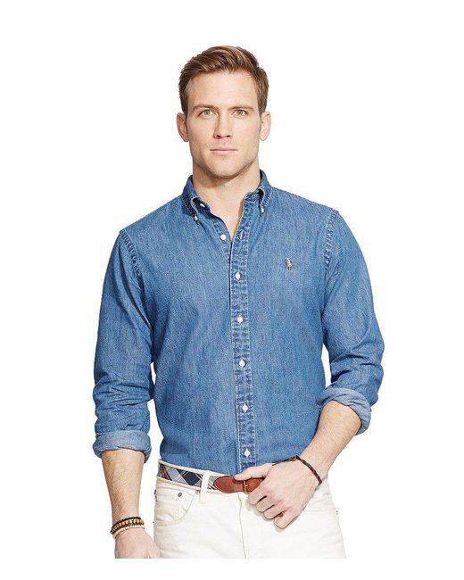 Polo Ralph Lauren   Blue Classic-fit Solid Denim Shirt for Men   Lyst