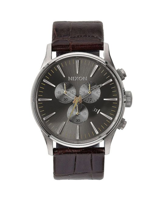 Nixon - Brown The Sentry Chronograph & Date Leather-strap Watch for Men - Lyst