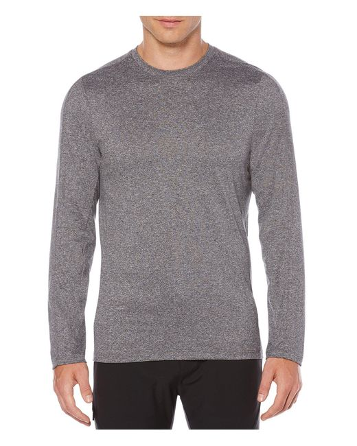 Perry Ellis - Gray Slim-fit Active Solid Jersey Long-sleeve Tee for Men - Lyst