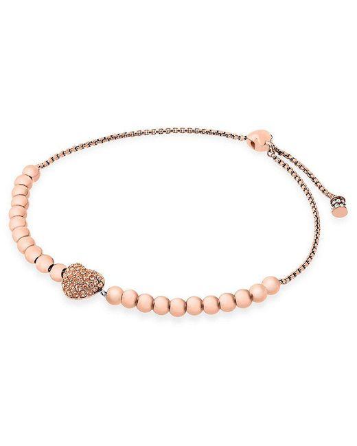 Michael Kors | Metallic Reversible Pavé Heart Slider Bracelet | Lyst