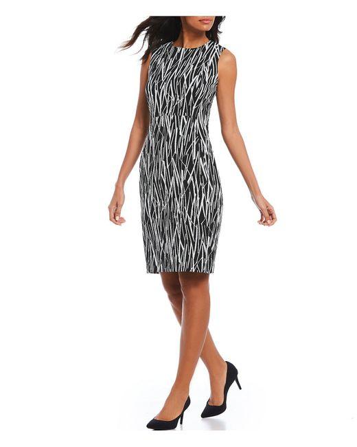 Calvin Klein - Black Sleeveless Texture Pattern Sheath Dress - Lyst