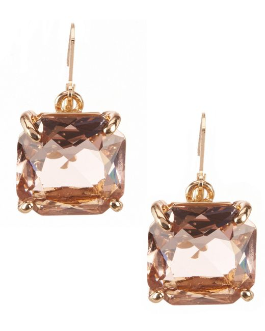 Belle By Badgley Mischka - Pink Square Stone Drop Earrings - Lyst