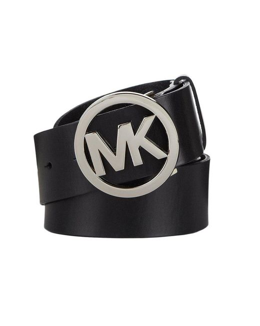 Michael Kors | Black Logo Plaque Leather Belt | Lyst