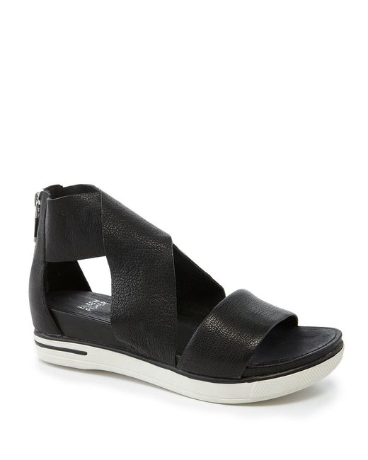 Eileen Fisher - Black Sport Criss Cross Tumbled Leather Banded Sandals - Lyst