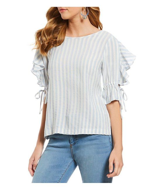 1.STATE - Multicolor Woven Ruffle Tie Sleeve Stripe Blouse - Lyst