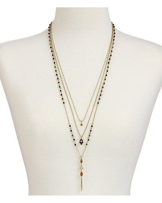Lucky Brand | Metallic Tiger S Eye & Rock Crystal Hamsa Multi-strand Necklace | Lyst