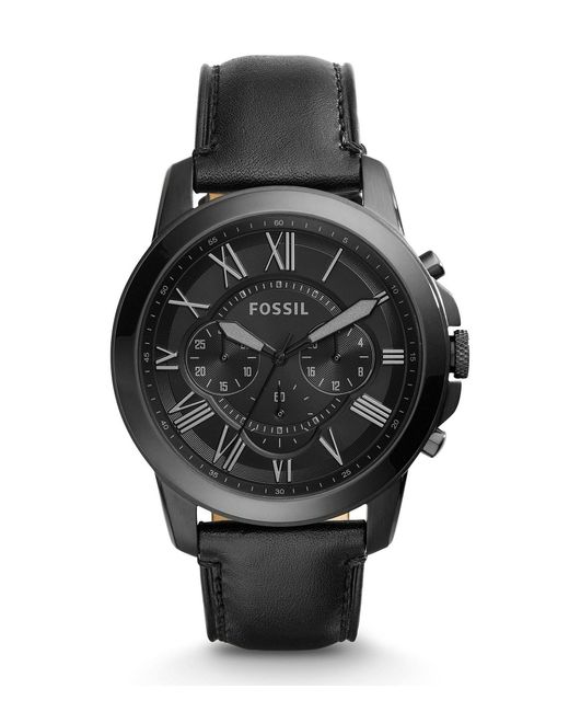 Fossil - Grant Chronograph Black Ip Stainless Steel Watch for Men - Lyst