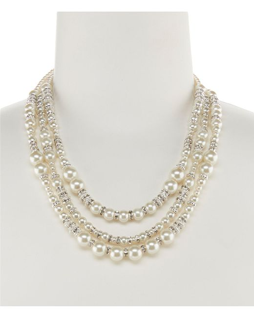 Cezanne - Metallic Triple-row Mixed Faux-pearl Statement Necklace - Lyst