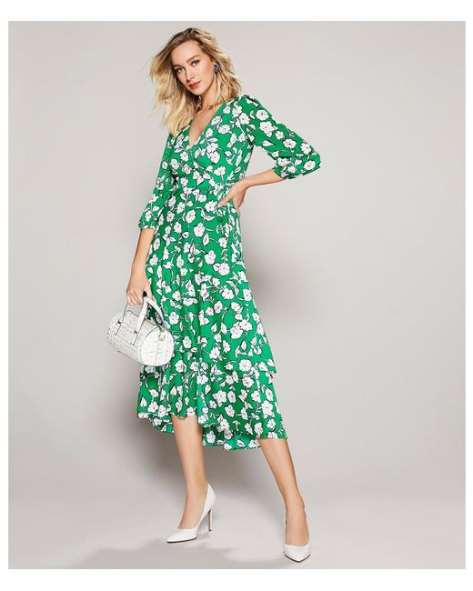 089c486c332cc8 ... Eliza J - Green Floral Print Surplice V-neck Midi Length Wrap Dress -  Lyst