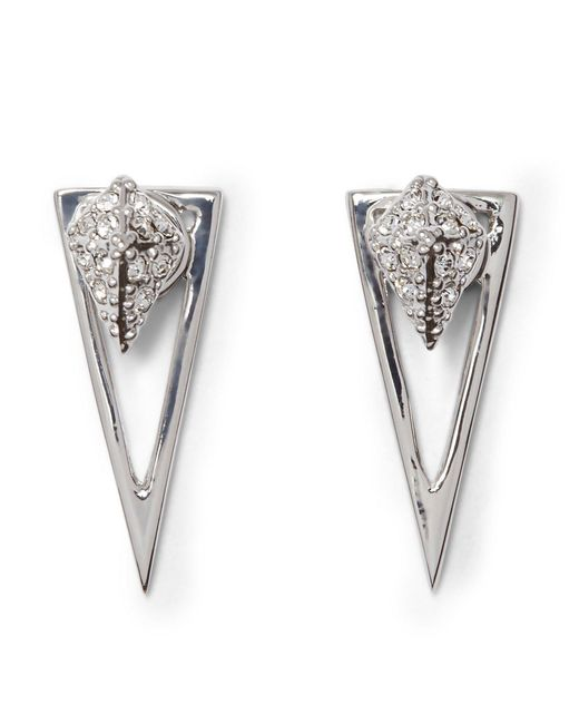 Vince Camuto - Metallic Pav Crystal Pyramid Front/back Earrings - Lyst