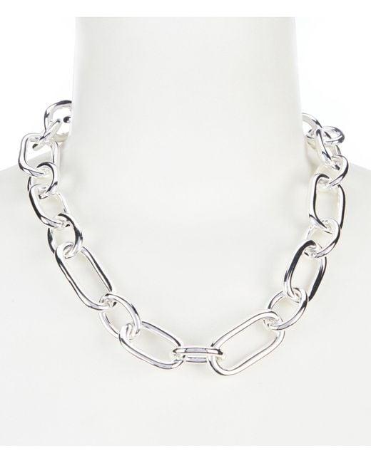 Lauren by Ralph Lauren - Metallic Silver Link Collar Necklace - Lyst
