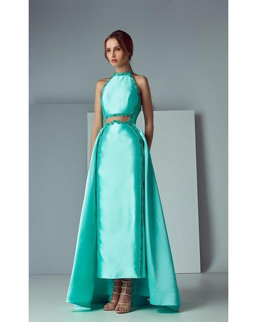 Saiid Kobeisy Blue Sk By Satin Duchesse Halter Gown