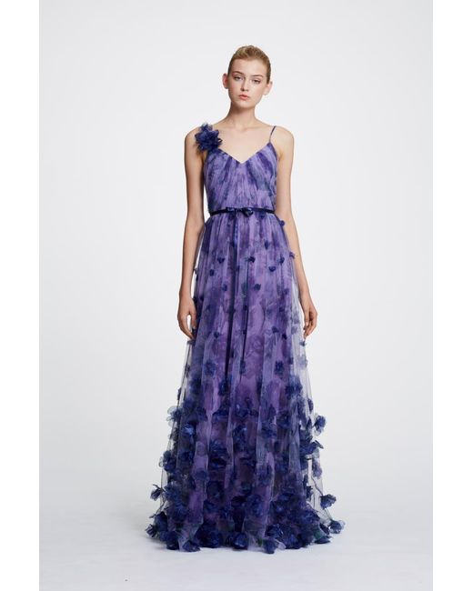 ebbd30ee84b41e Lyst - Marchesa notte Floral Tulle Gown in Purple