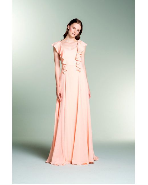 John Paul Ataker - Pink Sleeveless Jacquard Evening Gown - Lyst
