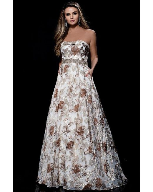 Lyst - Jovani Strapless Brocade Bustier Ball Gown