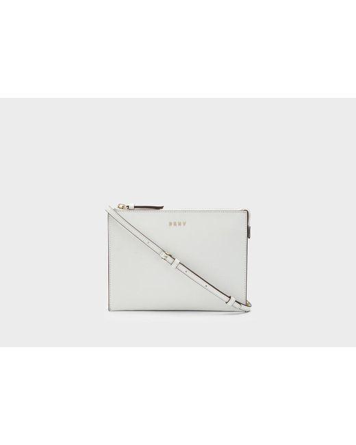 DKNY | White Flat Top Zip Crossbody | Lyst