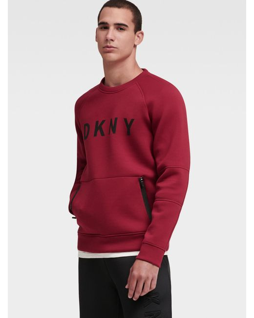 DKNY - Red Logo Scuba Pullover for Men - Lyst