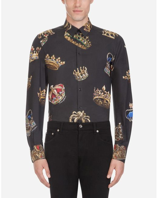 Dolce & Gabbana - Black Stretch Crown Print Cotton Poplin Shirt for Men - Lyst