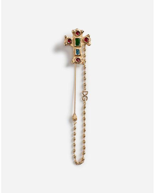 Dolce & Gabbana - Metallic Metal Pin With Cross - Lyst