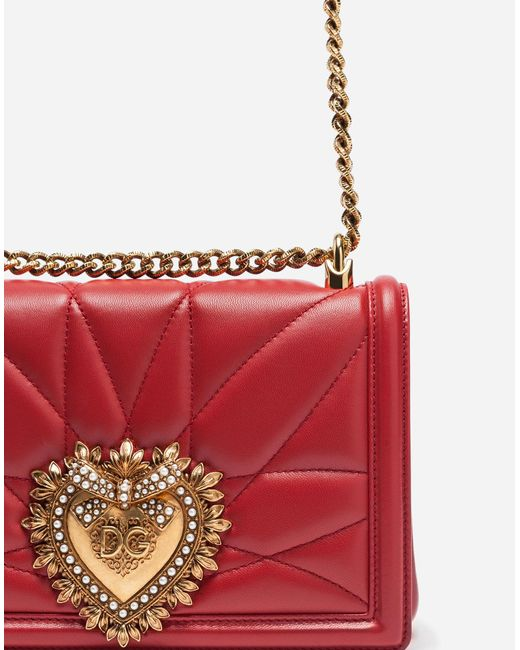 3ad7afefa4 ... Lyst Dolce   Gabbana - Red Medium Devotion Bag In Quilted Nappa Leather  ...