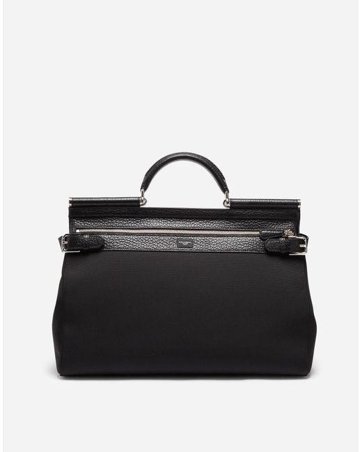 Dolce & Gabbana - Black Handheld Sicily Bag In Canvas - Lyst