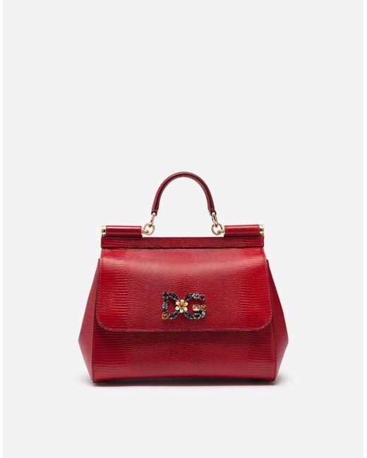 Dolce   Gabbana - Red Medium Sicily Bag In Iguana Print Calfskin With Dg  Logo Crystalsâ ... 80d131aaca
