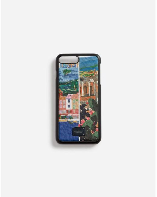 Dolce & Gabbana - Blue Iphone 7/8 Plus Cover In Printed Dauphine Calfskin for Men - Lyst