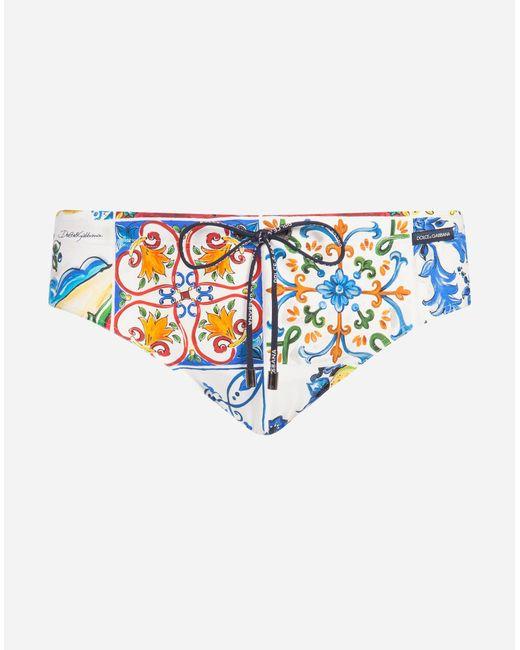 Dolce & Gabbana - Blue Printed Swim Briefs for Men - Lyst