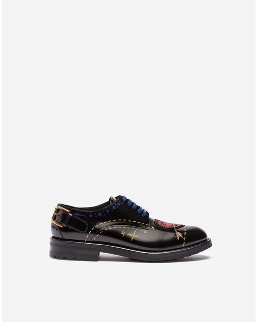 Dolce & Gabbana | Black Printed Leather Derby Shoes With Patch | Lyst