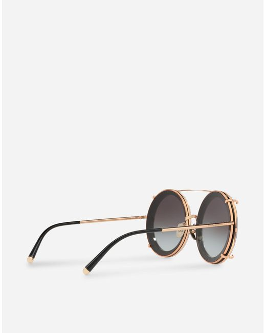 42d82975776 ... Dolce   Gabbana - Metallic Round Clip-on Sunglasses In Gold Metal With  Stripe And ...