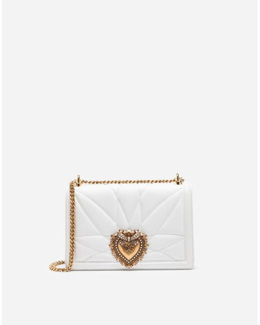 ddb2287798 Dolce   Gabbana - White Large Devotion Bag In Quilted Nappa Leather - Lyst