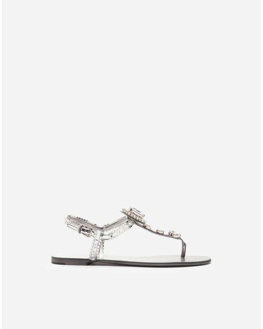 Dolce & Gabbana - Metallic Mirrored Calfskin Sandals With Bejeweled Appliqué - Lyst