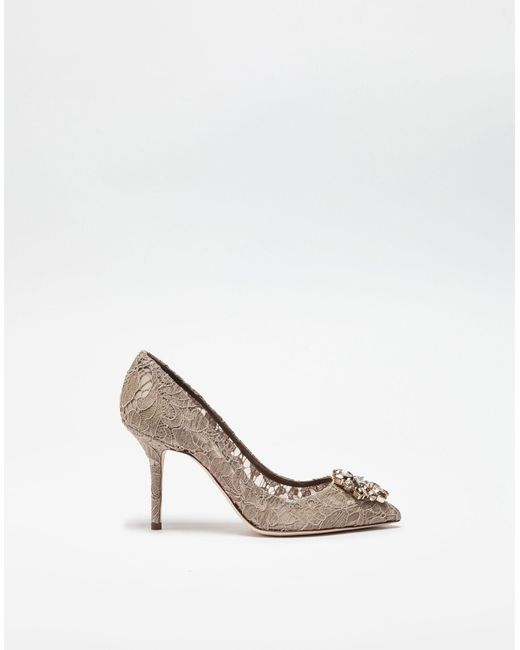 50ce8b474a9a Dolce   Gabbana - Natural Bellucci Crystal-Embellished Lace Pumps - Lyst ...