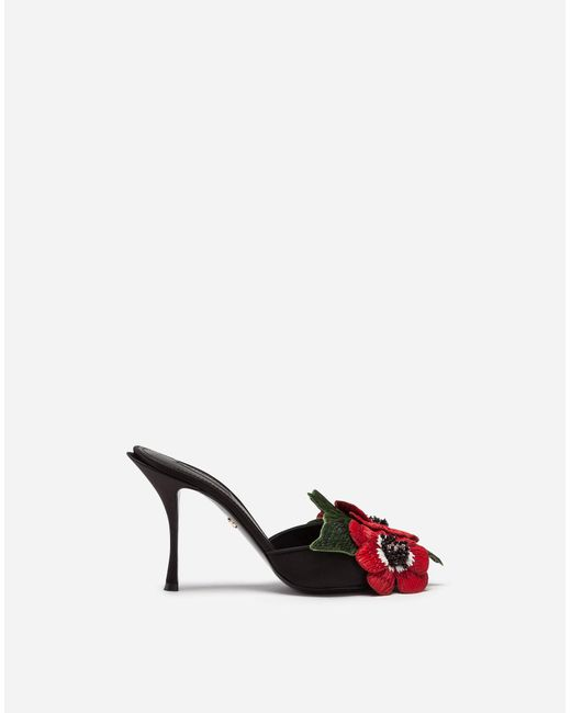 ceee8ce53f6 Dolce   Gabbana - Black Satin Mules With Embroidery - Lyst ...