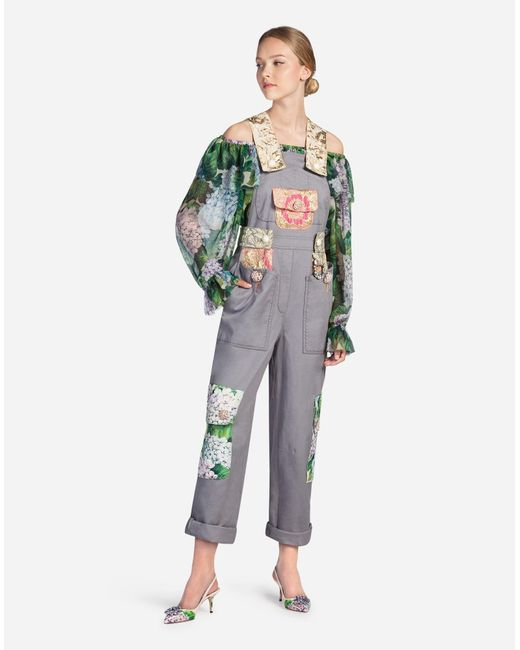 Dolce & Gabbana   Gray Overall In Mix Of Material   Lyst