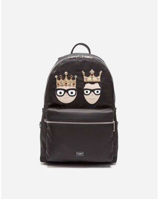 Dolce & Gabbana - Black Nylon Vulcano Backpack With Patches Of The Designers for Men - Lyst