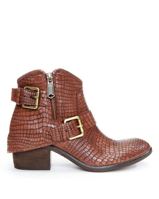 Donald J Pliner   Brown Dalis Buckle Ankle Embossed Leather Boot   Lyst