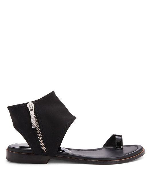 Donald J Pliner   Black Crepe Elastic And Patent Leather Sandal   Lyst