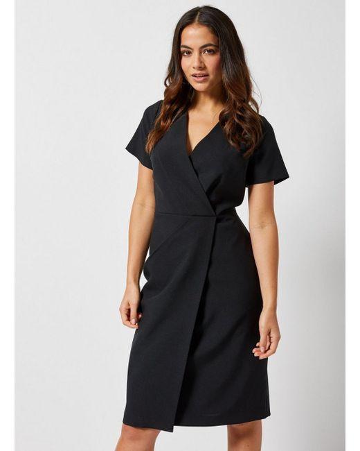... Dorothy Perkins - Petite Black V-neck Wrap Dress - Lyst ... 0c22f39c2