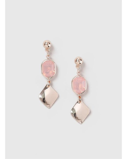 Dorothy Perkins - Pink Rose Gold Look Stone Drop Earrings - Lyst