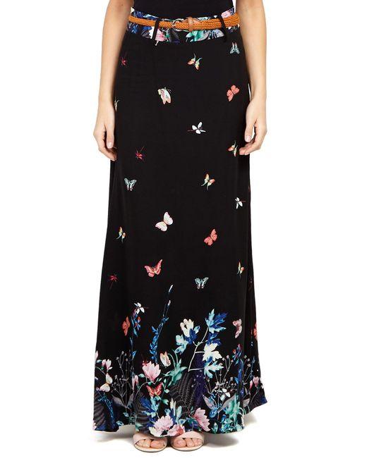 b45ebd8d9a ... Dorothy Perkins - Izabel London Black Butterfly Print Maxi Skirt - Lyst  ...