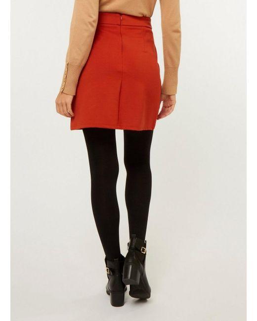d4bb19fd038 ... Dorothy Perkins - Red Rust Popper Mini Skirt - Lyst ...