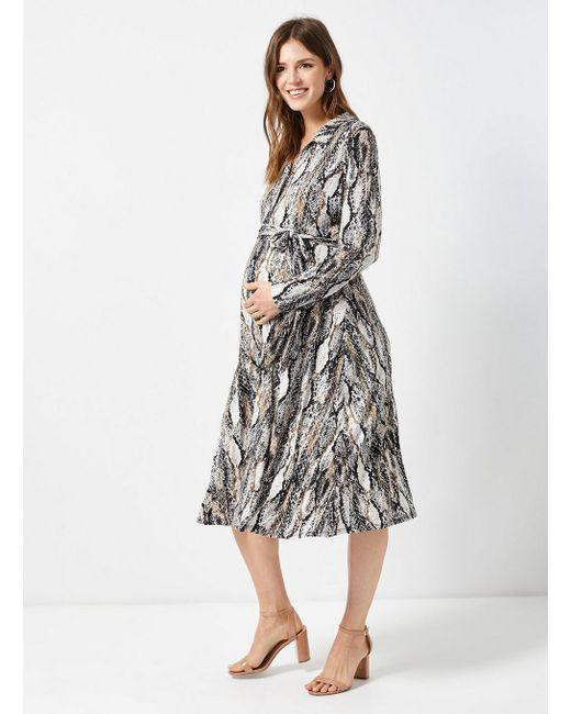 3d58b9fea2 ... Dorothy Perkins - White Maternity Multi Coloured Snake Print Midi Shirt  Dress - Lyst ...