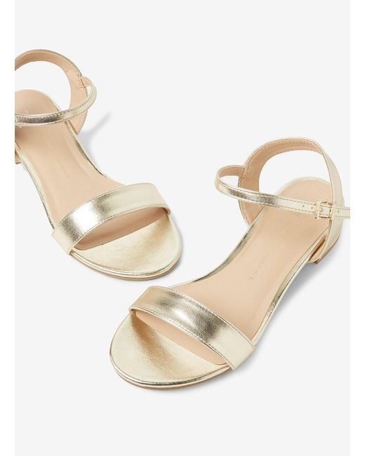 7c63a5048631ea ... Dorothy Perkins - Metallic Wide Fit Gold Spirit Block Heel Sandals -  Lyst ...
