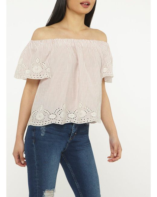 Dorothy Perkins - Petite Pink Striped Bardot Top - Lyst