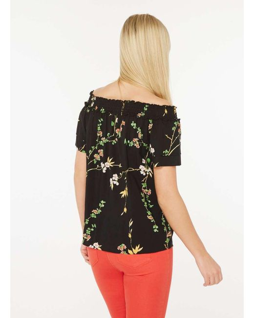 9e2c38e4e8ffae ... Dorothy Perkins - Black Floral Print Bardot Top - Lyst ...